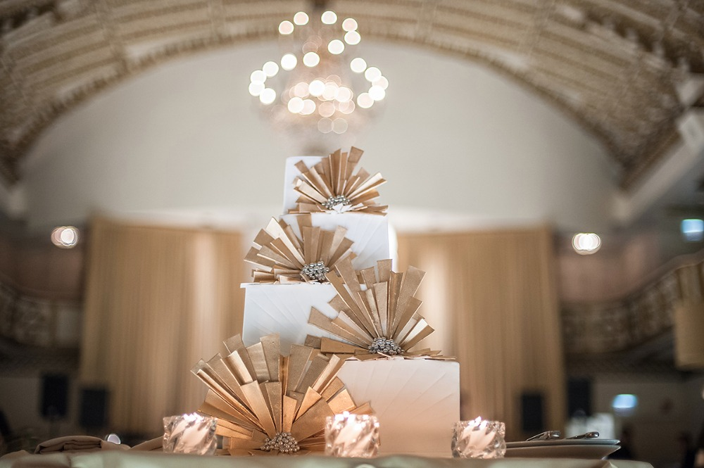 Art Deco Gold Wedding Cake