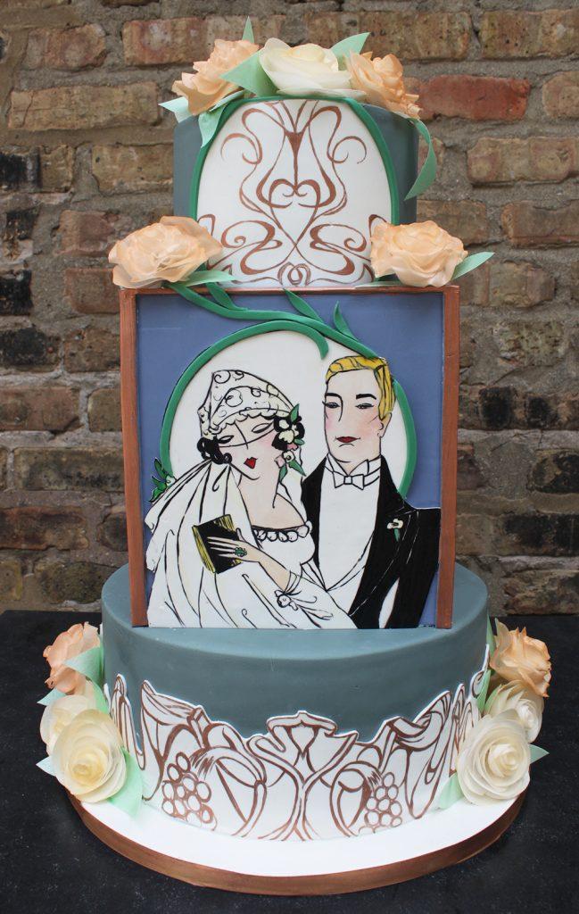 Wafer Flower Art Nouveau Wedding Cake