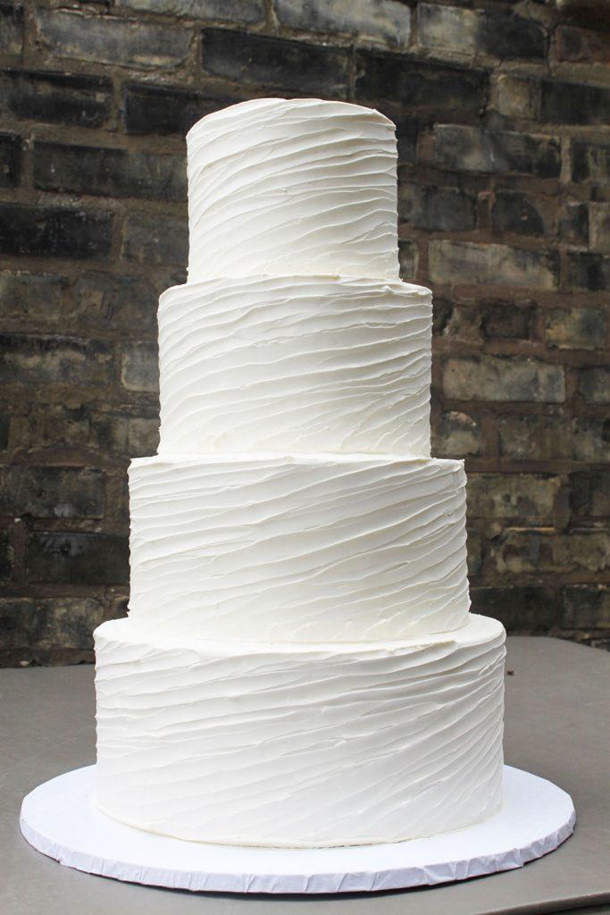 Thin Diagonal Textured Wedding Cake
