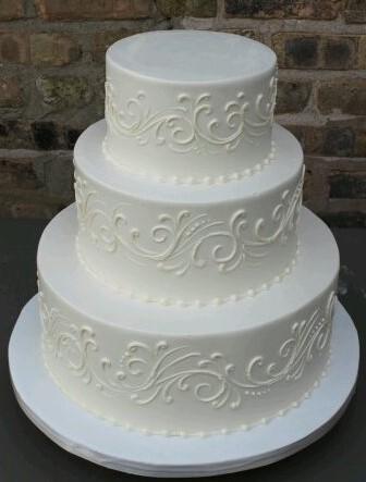 White on White Scroll Wedding Cake