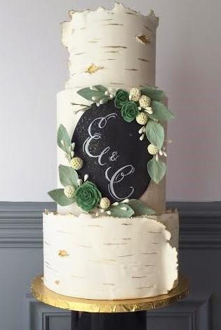 Birch & Succulents Wedding Cake