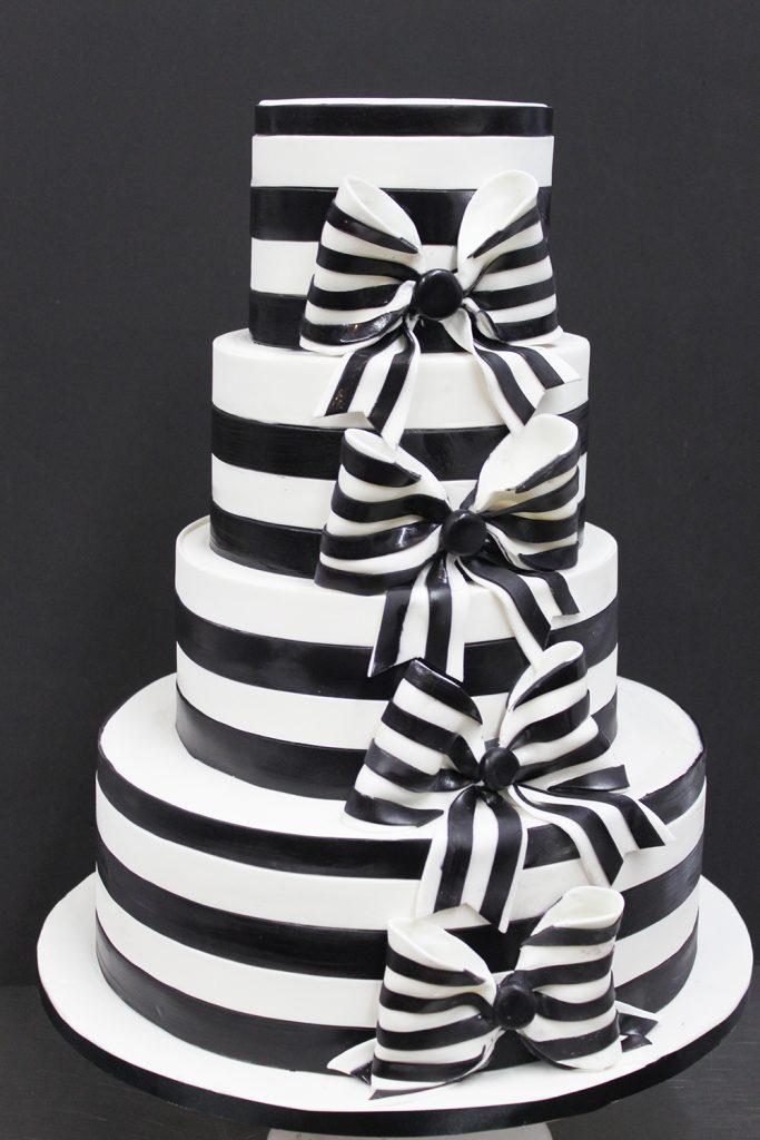 Black & White Bows Wedding Cake