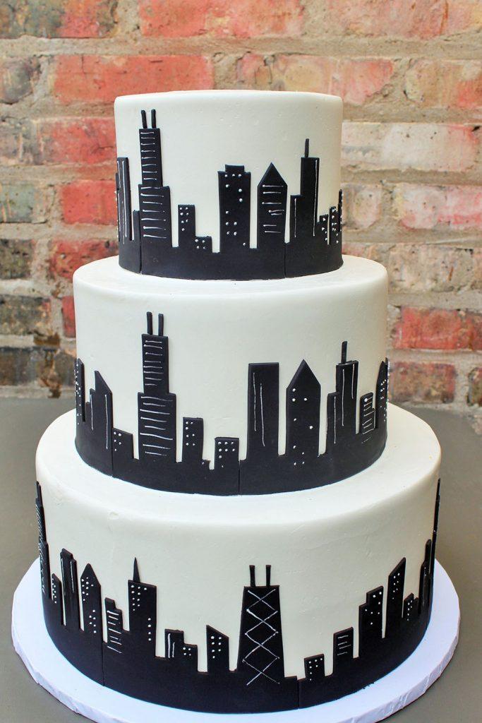 Sky High Skyline Wedding Cake