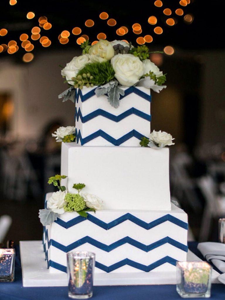 Blue Chevron Wedding Cake