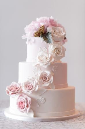 Blush Rose Cascade Wedding Cake
