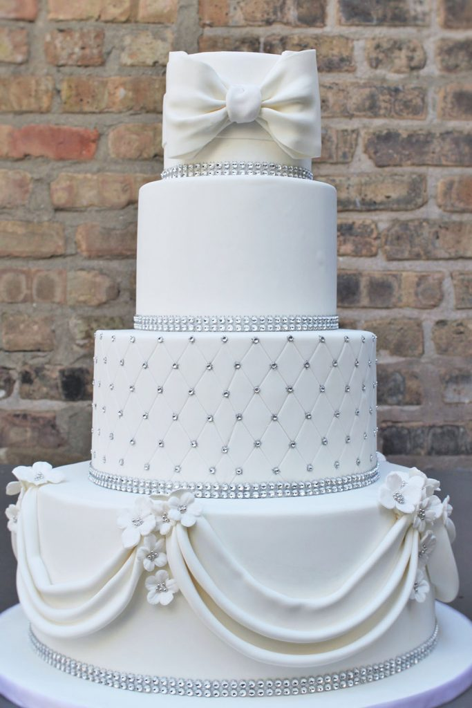 Classic Silver & White Wedding Cake