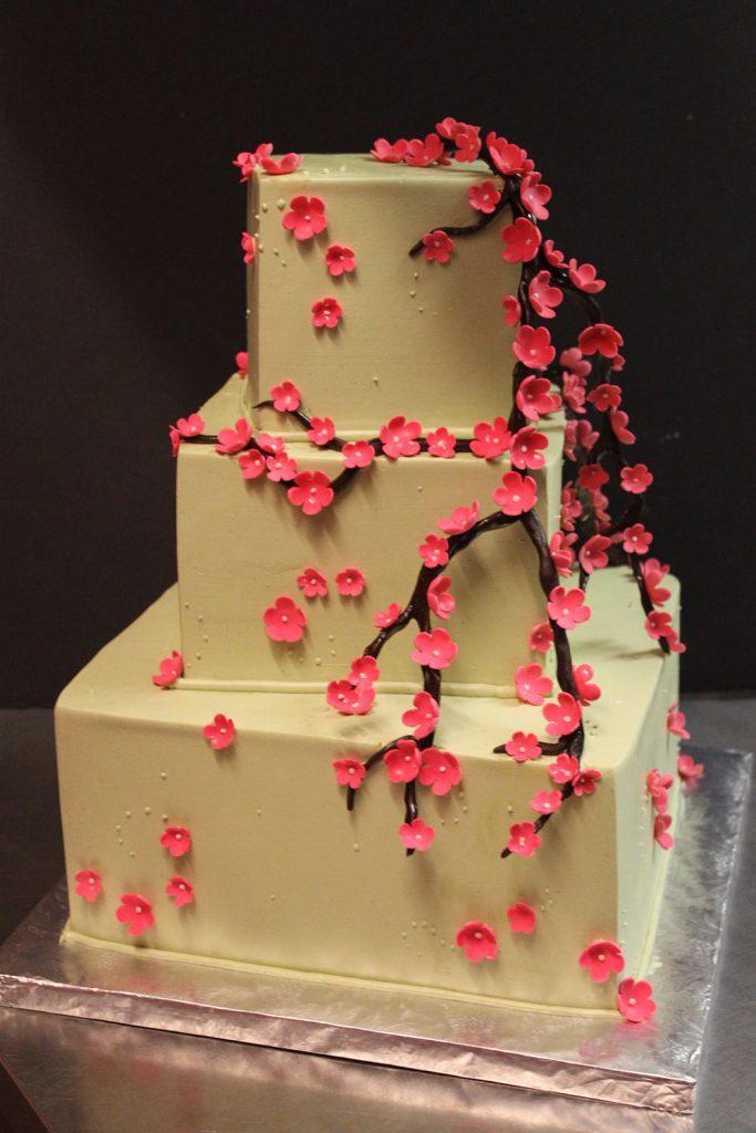 Cherry Blossom Branch Wedding Cake