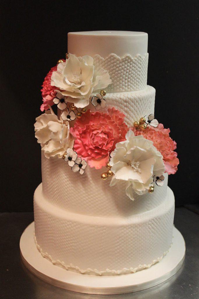 Dot Lace & Peonies Wedding Cake