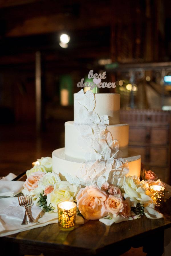 Feather Cascade Wedding Cake