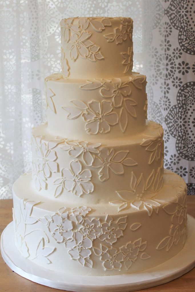 Floral Applique Wedding Cake