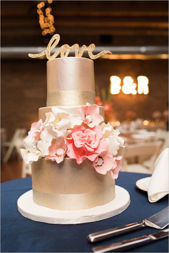 Gold & Blush Love Wedding Cake