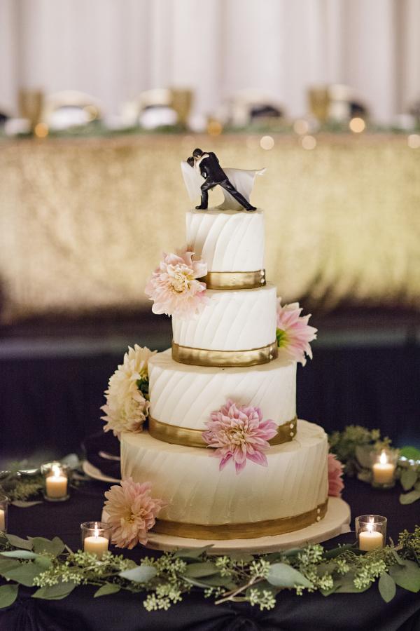 Gold Bands & Blush Dahlias Wedding Cake