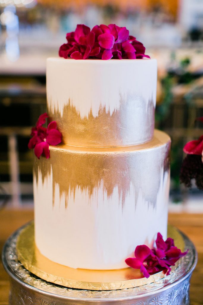 Gold Brush Stroke Wedding Cake