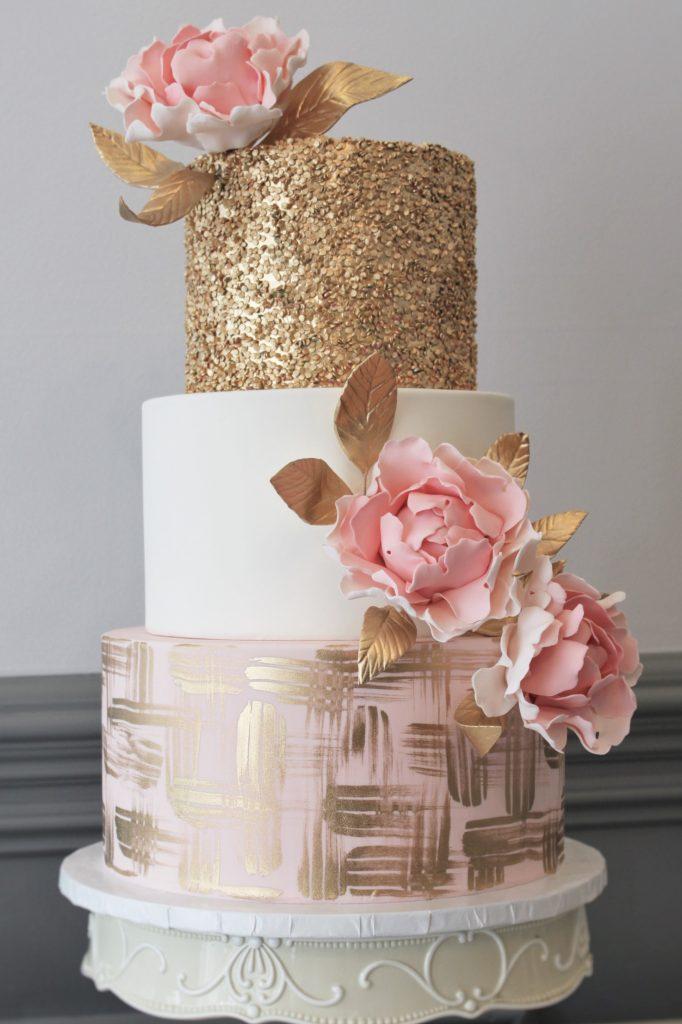 Gold Confetti Pink Peony Wedding Cake