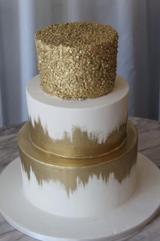 Gold Confetti & Brush Wedding Cake