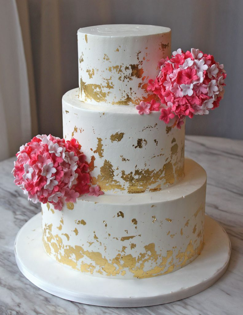 Gold Foil with Pink Hydrangea Wedding Cake