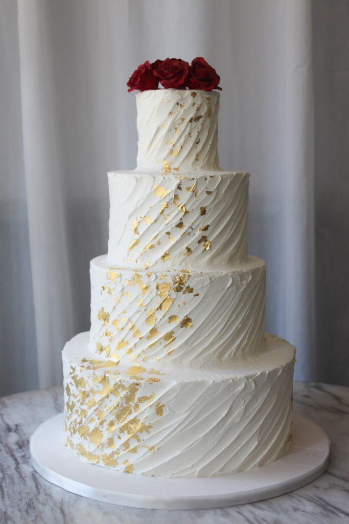 Diagonally Textured Wedding Cake