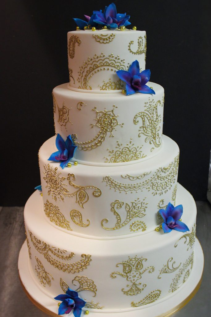 Gold Henna & Blue Orchids Wedding Cake