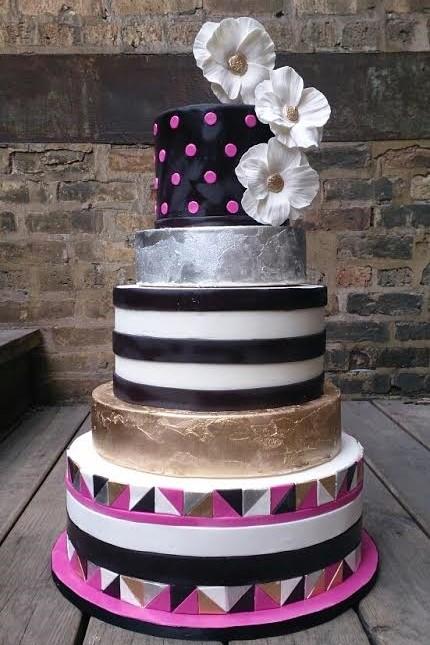 Gold Black & Pink Wedding Cake