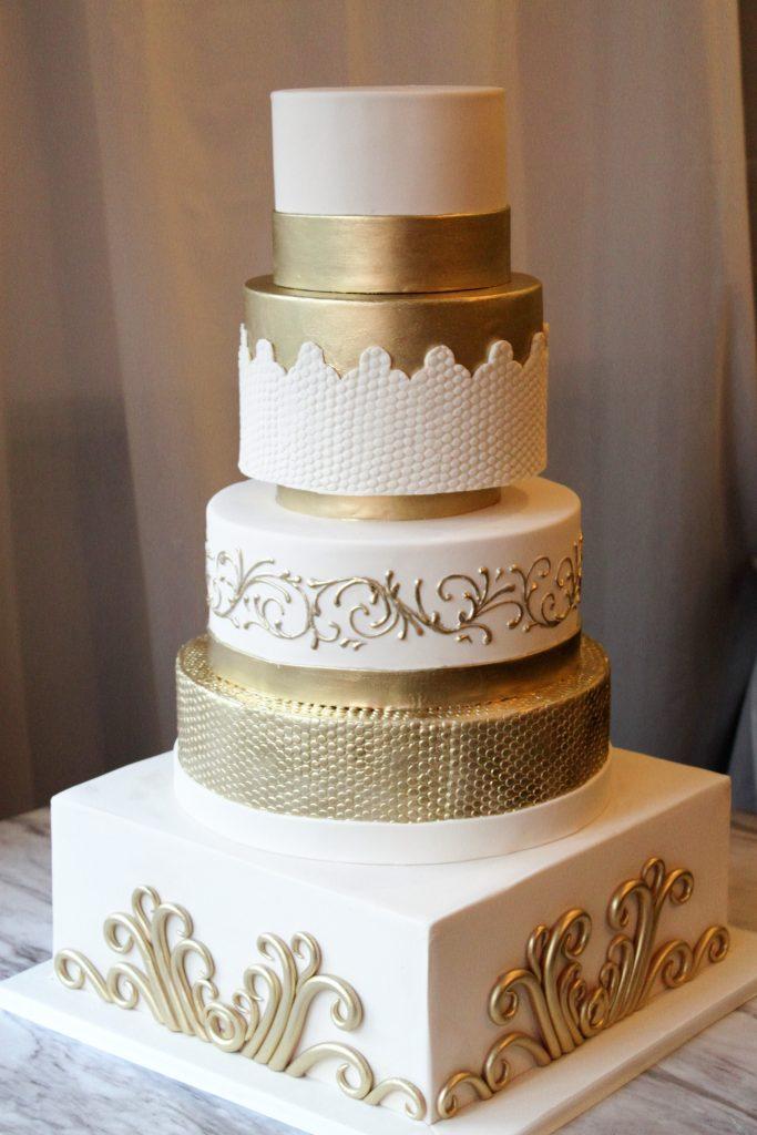 Gold & Ivory Elegant Wedding Cake