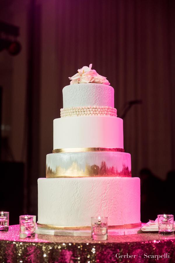 Gold Brush with Gray and Lace Wedding Cake
