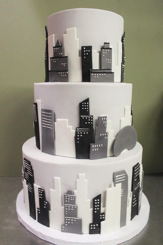 Gray Chicago Skyline Wedding Cake