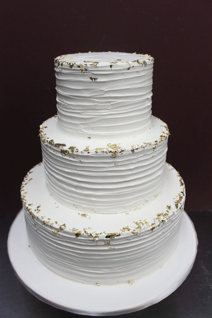Thin Texture with Gold Leaf Wedding Cake