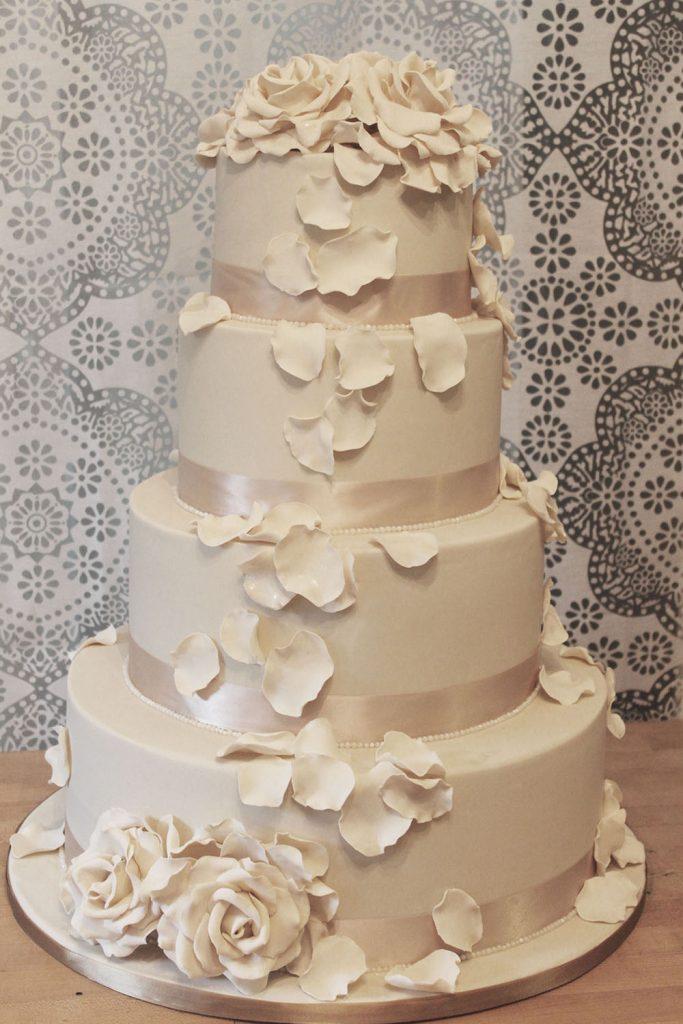 Ivory Rose Petal Cascade Wedding Cake