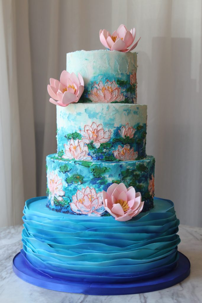 Lotus Impressionism Wedding Cake