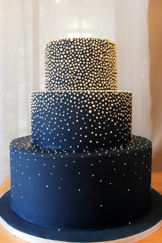 Navy with Gold Dots Wedding Cake