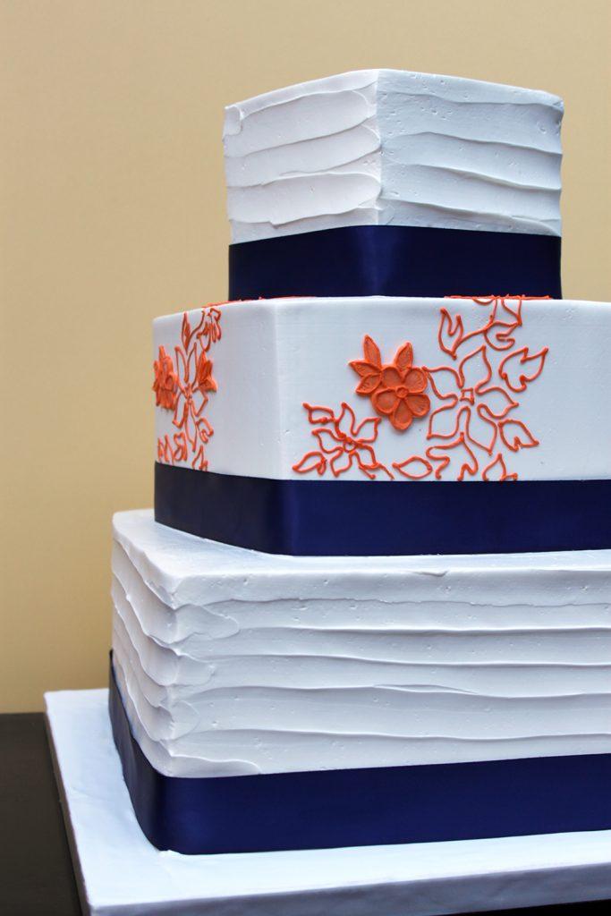 Navy Orange Square Wedding Cake
