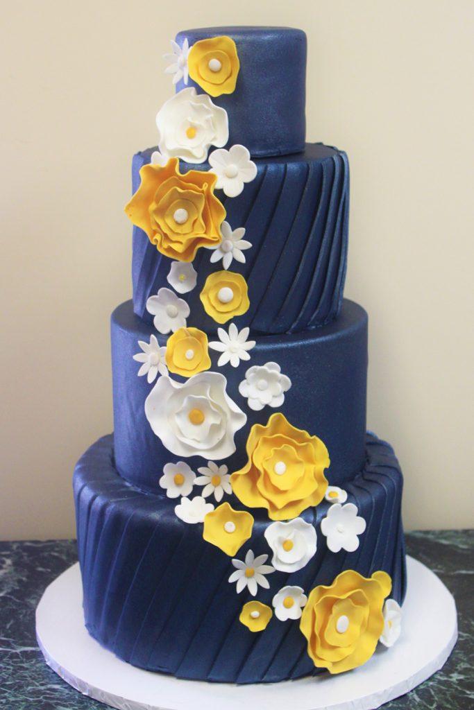 Navy Flower Cascade Wedding Cake