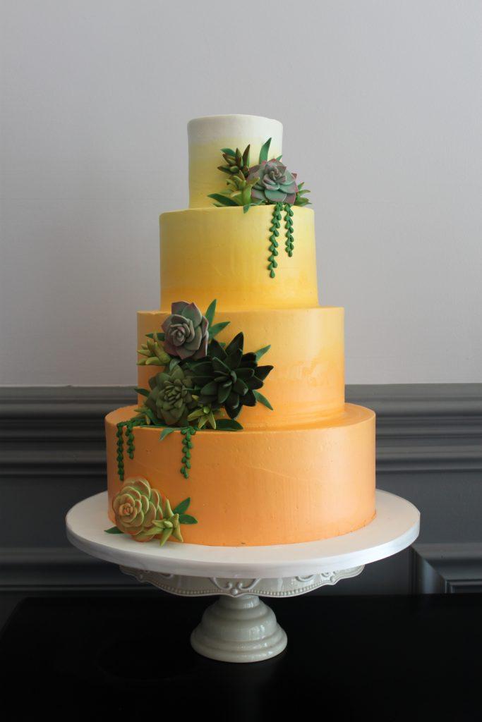 Succulent Sunset Wedding Cake
