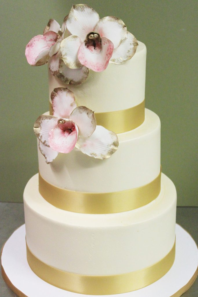 Orchids & Gold Ribbon Wedding Cake