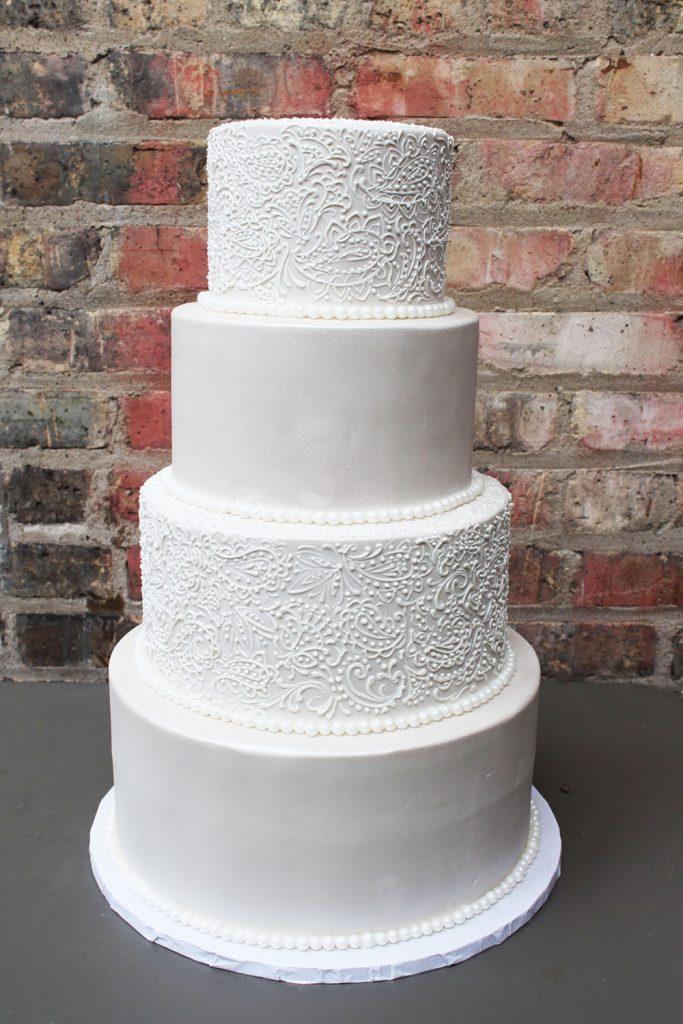 Paisley & Beading Wedding Cake