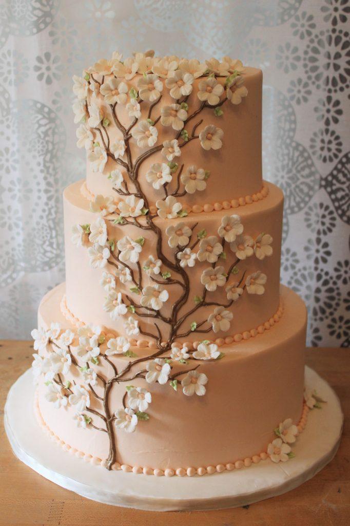Peach Cherry Tree Wedding Cake