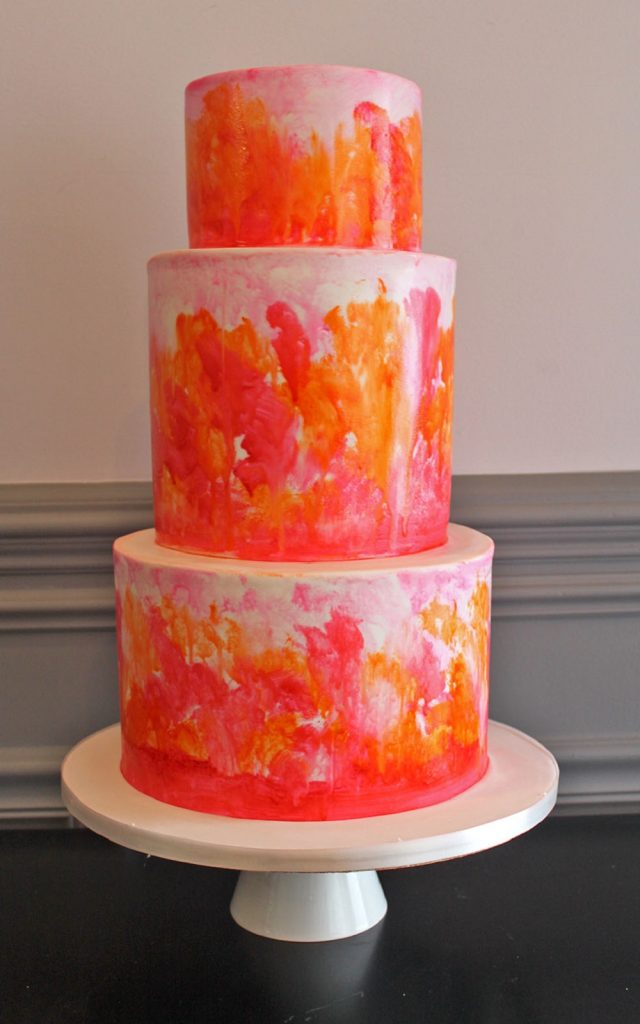 Fuchsia & Orange Hand-Painted Wedding Cake