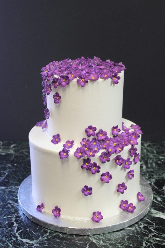 Violet Petals Wedding Cake