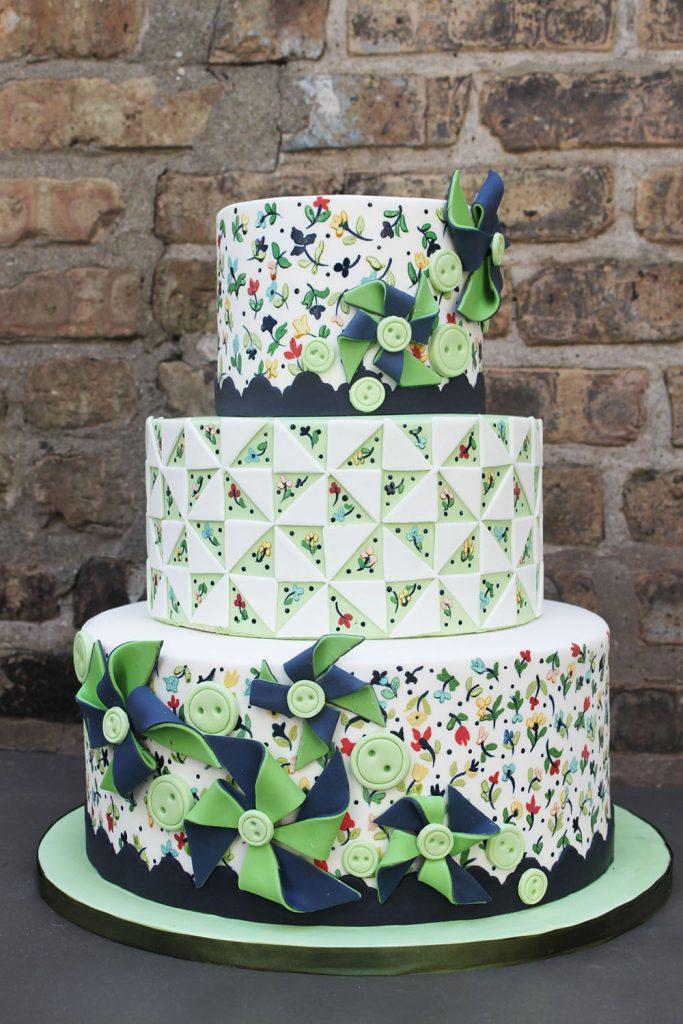 Pinwheel & Quilt Print Wedding Cake