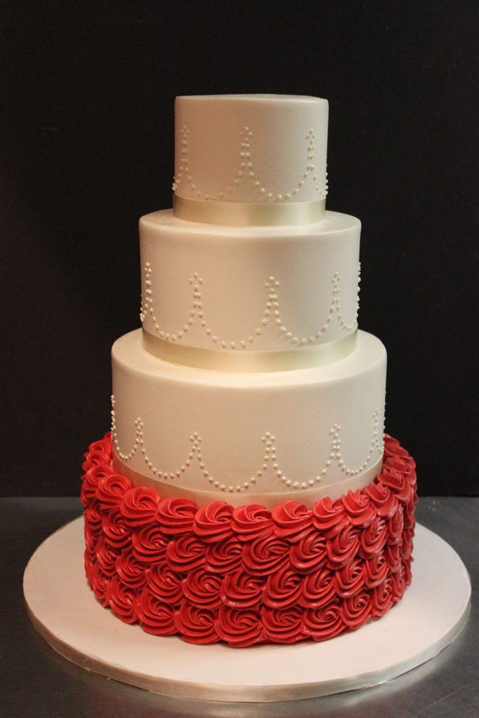 Red Rosette Wedding Cake