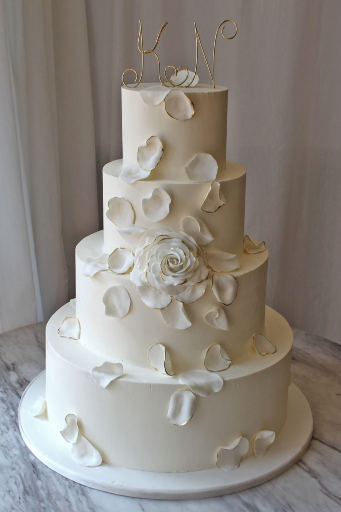 White & Gold Rose Wedding Cake