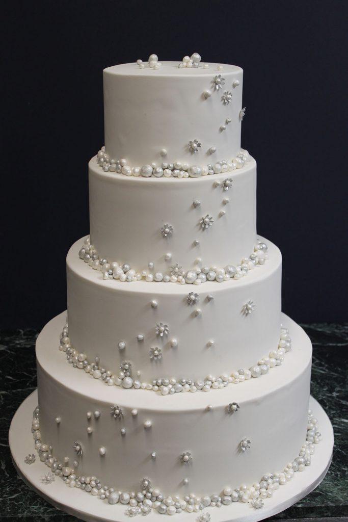 Silver Dot Cascade Wedding Cake