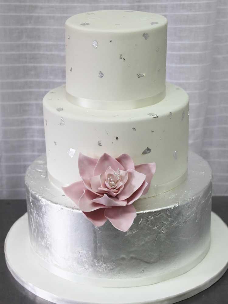 Silver Leaf & Flower Wedding Cake