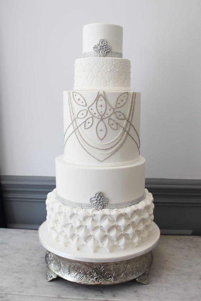 Silver Adorned Wedding Cake