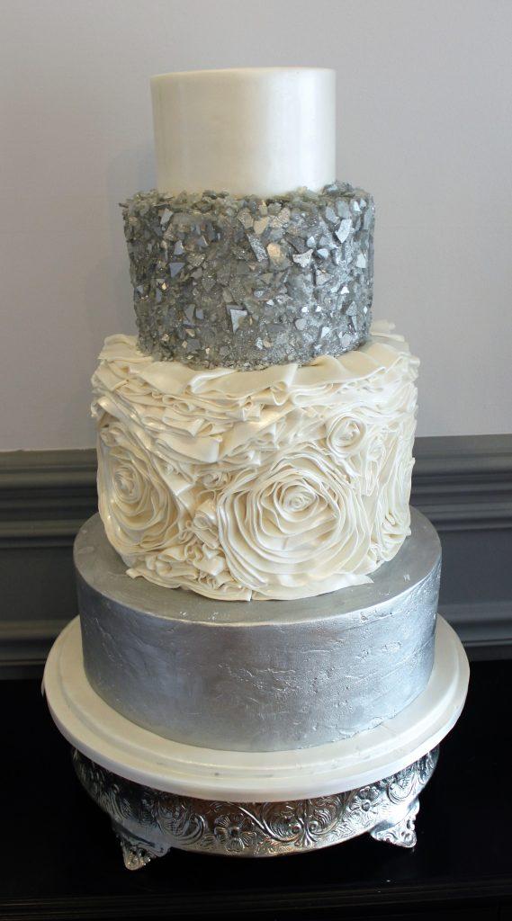 Silver & White Texture Wedding Cake