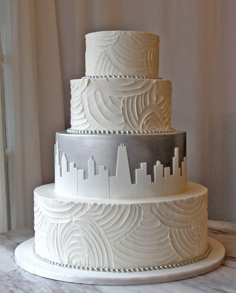 Textured Silver Skyline Wedding Cake