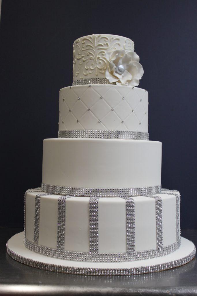 Classic Rhinestone Wedding Cake