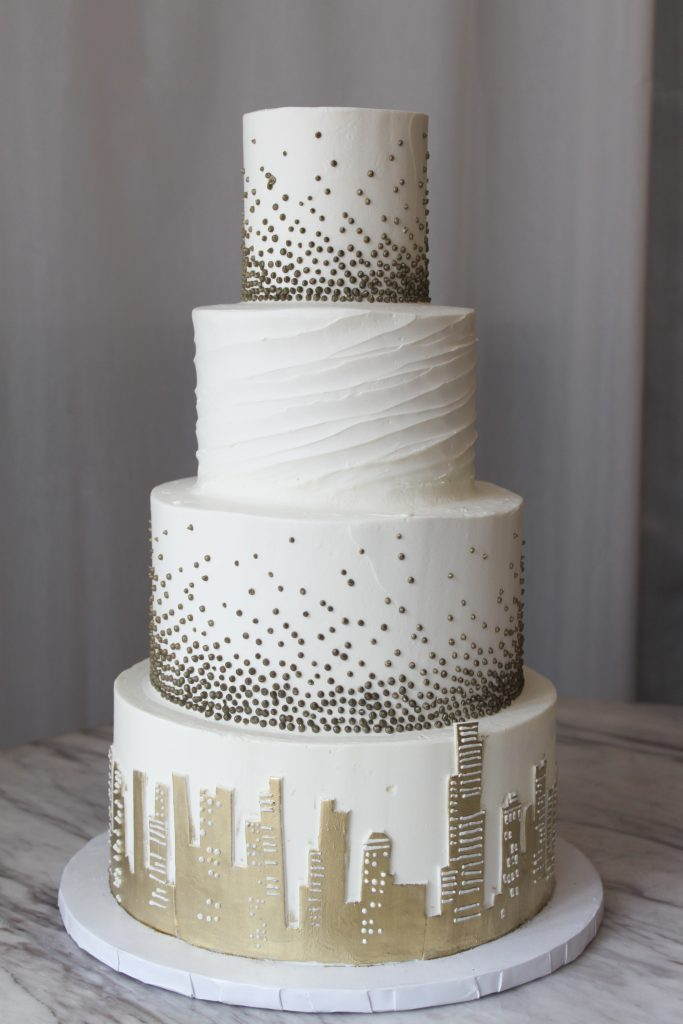 Gold Skyline Wedding Cake