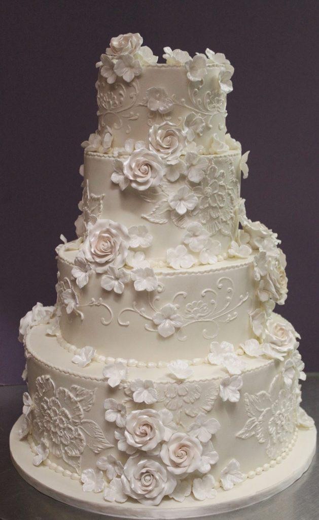 Lace & Blush Flowers Wedding Cake
