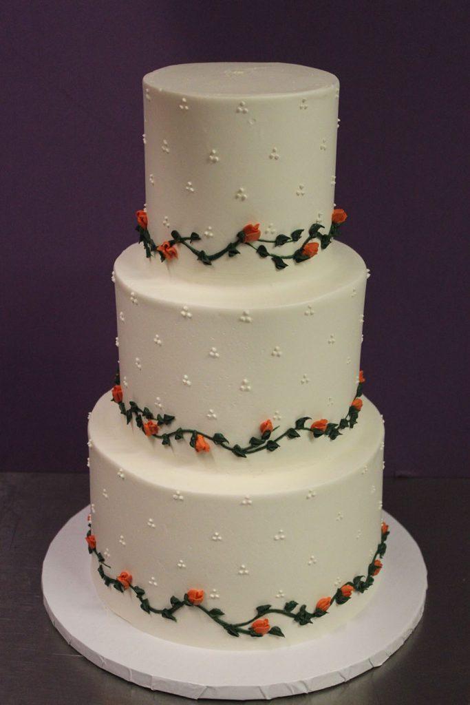 Swiss Dot Vine Wedding Cake